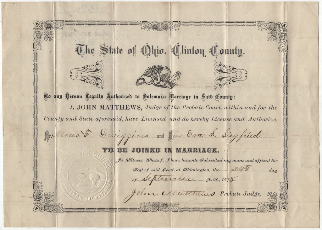 Marriage license for Moses F. Dwiggins and Eva Siegfried 24 September 1878. Courtesy Special Collections, Boston Public Library.
