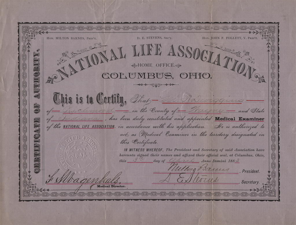 National Life Association Medical Examiner certificate for Moses F. Dwiggins (1883). Courtesy Special Collections, Boston Public Library.
