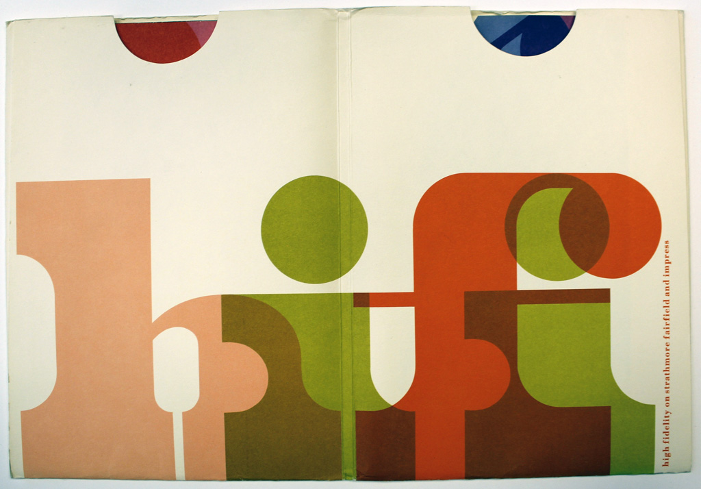Spread from hifi swatch book (c.1969). Design by Ken Kuenster. Photograph by Ariel Smullen.