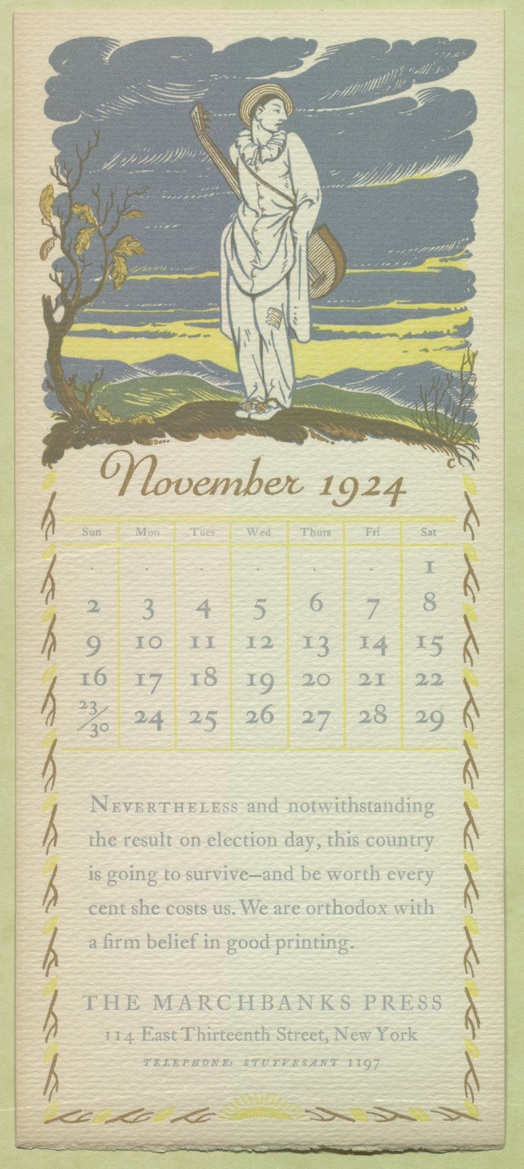 The Marchbanks Calendar November 1924. Design by T.M. Cleland. Courtesy of the Thomas Fisher Rare Book Library, University of Toronto