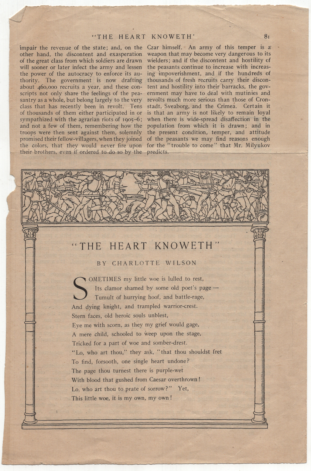 """The Heart Knoweth"" by Charlotte Wilson from McClure's Magazine (May 1908, p. 81). Decorative frame by W.A. Dwiggins. Boston Public Library, 1974 W.A. Dwiggins Collection, Box 41, Folder 33."