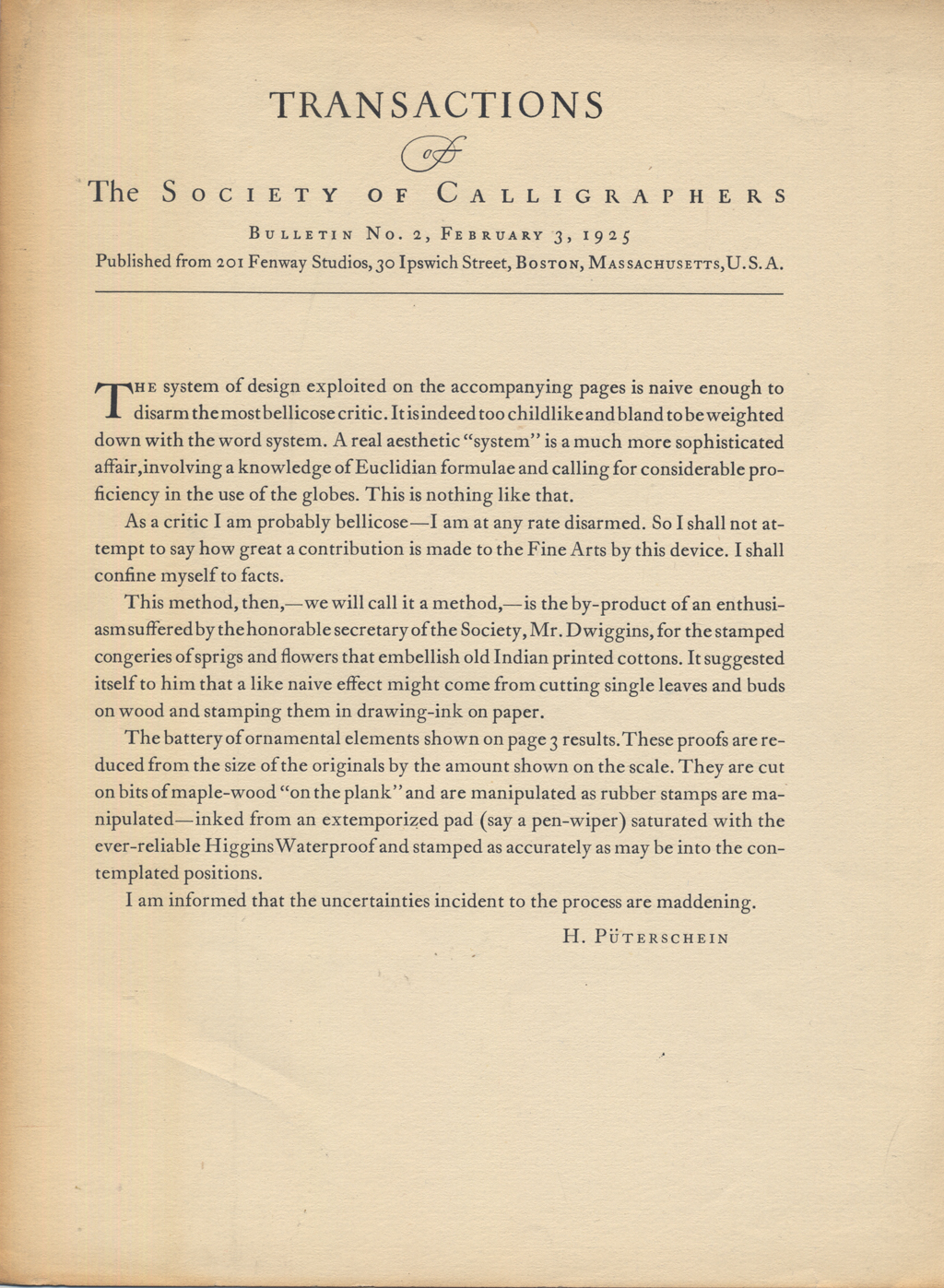 Bulletin No. 2 of the Transactions of The Society of Calligraphers (February 3, 1925). Design by W.A. Dwiggins.