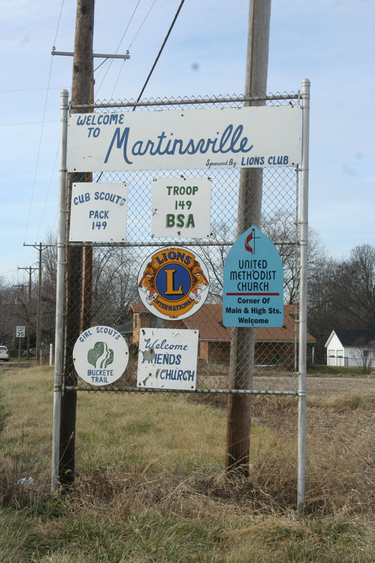 """""""Welcome to Martinsville"""" sign on eastern outskirts of town. Photograph by Paul Shaw (2006)."""
