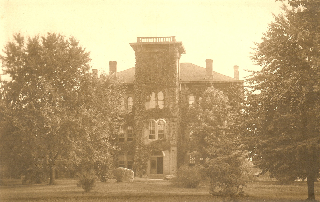 Wilmington College Hall (built 1868). From the collection of the Clinton County Historical Society.
