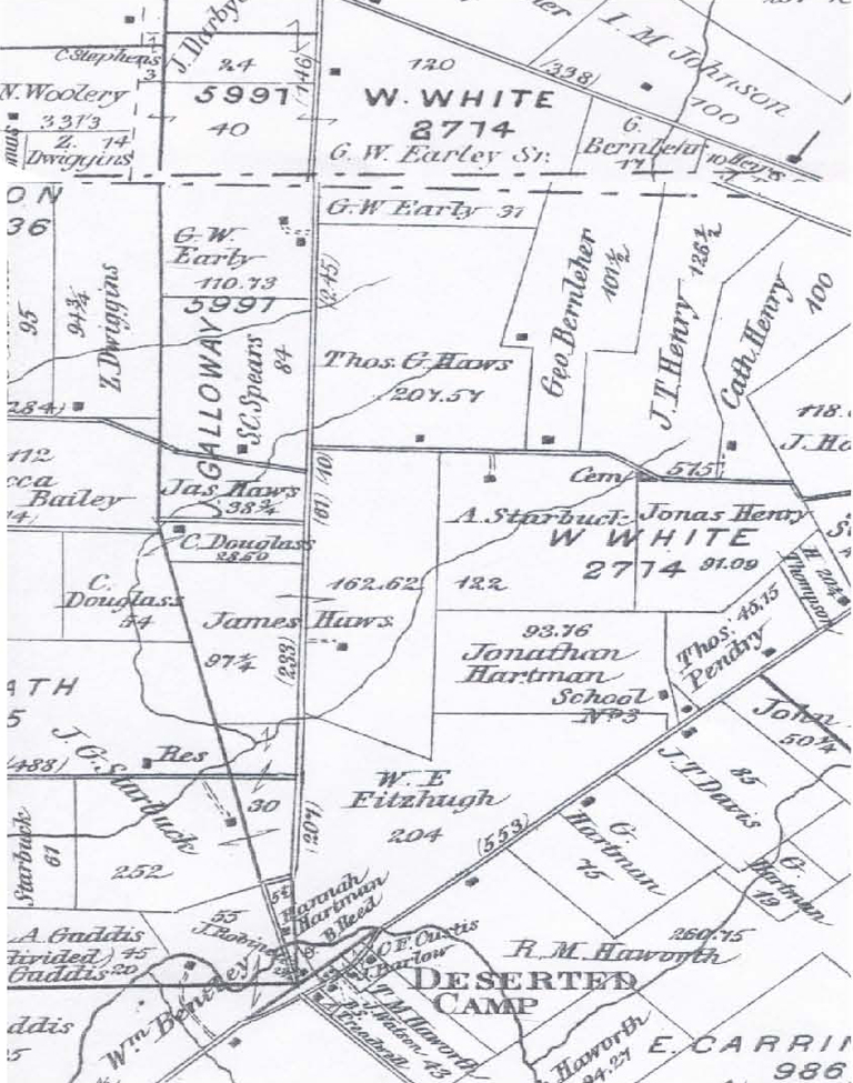 Zimri Dwiggins property 1876. Details from An Illustrated Historical Atlas of Clinton County, Ohio (Philadelphia: Lake, Griffing & Stevenson, 1876), plates 13 and 21 combined.