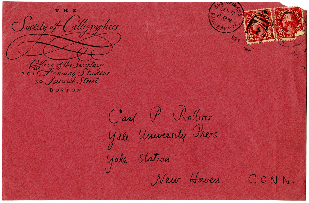 Society of Calligraphers envelope. Design and calligraphy by W.A. Dwiggins. Courtesy Robert B. Haas Family Library, Yale University.