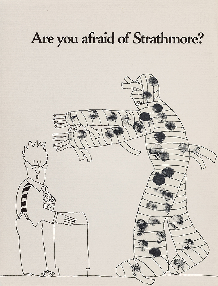 """Are you afraid of Strathmore?"" Mummy promotional sheet (1968). Illustration by Simms Taback. Photograph by Vincent Giordano."