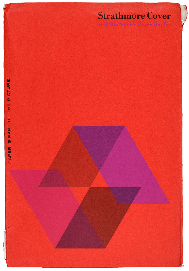 Cover of Strathmore Cover and Strathmore Cover Duplex swatch book (c.1969). Designer unknown. Photograph by Vincent Giordano.