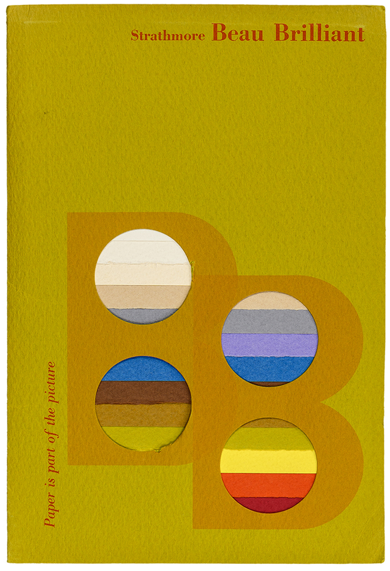 Cover of Strathmore Brilliant swatch book (late 1960s). Designer unknown. Photograph by Vincent Giordano.