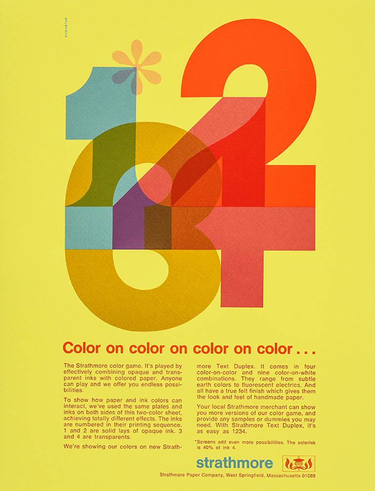 Sheet from Color on color on color on color: promotion (Strathmore Paper, c.1970). Design by Ken Kuenster. Photograph by Vincent Giordano.