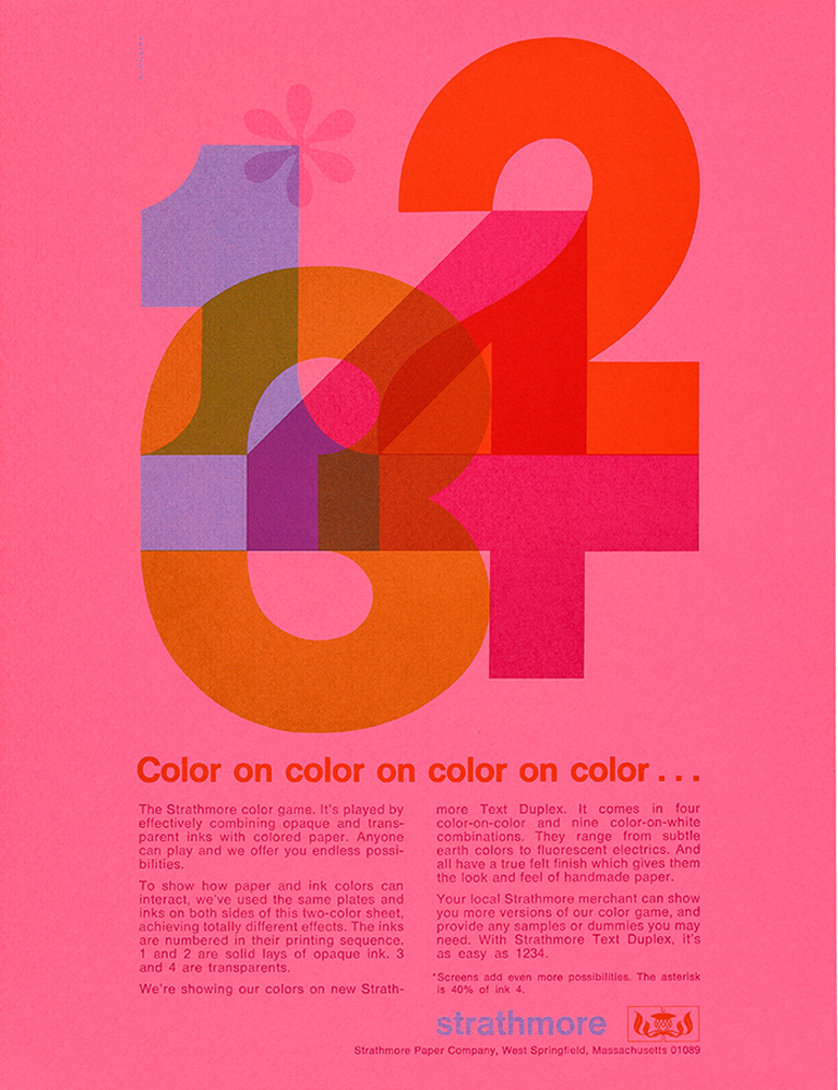 Sheet from Color on color on color on color… promotion (Strathmore Paper Co., 1971). Design by Ken Kuenster. Photograph by Vincent Giordano.