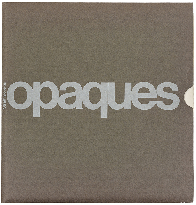 Cover for Strathmore on Opaques mailer (Strathmore Paper Co., 1970). Design by Richard Danne. Photograph by Vincent Giordano.