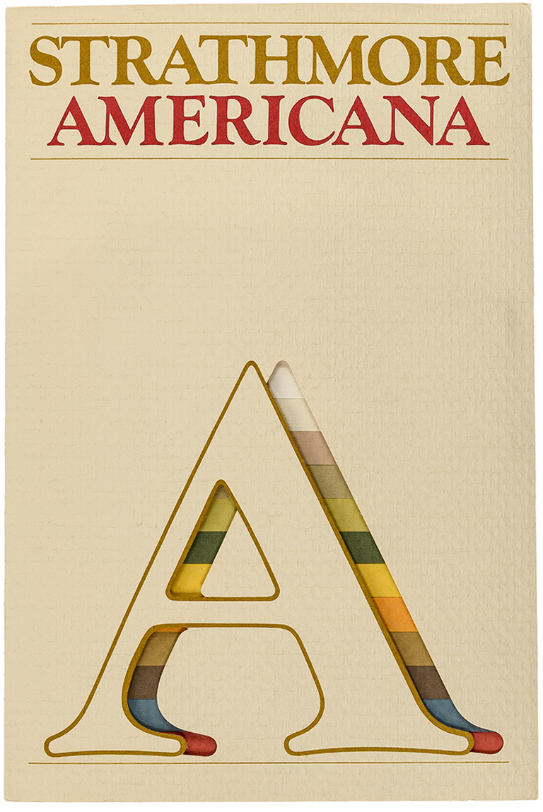 Cover of Strathmore Americana swatch book (c.1974). Designer unknown. Photograph by Vincent Giordano.