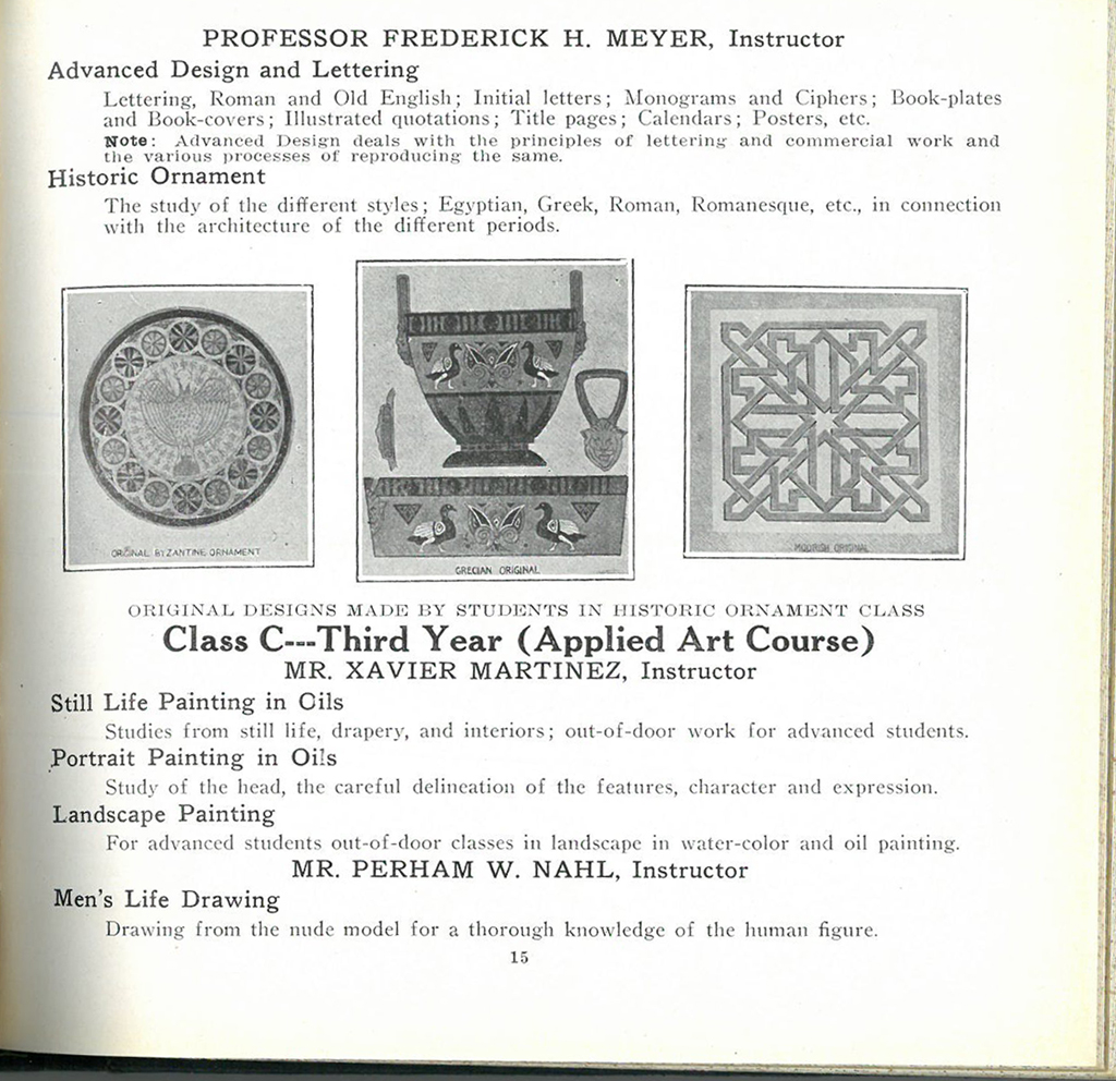 Detail of p. 15 from California School of Arts and Crafts Catalogue, 1916–1917. Image courtesy of Special Collections, San Francisco Public Library.