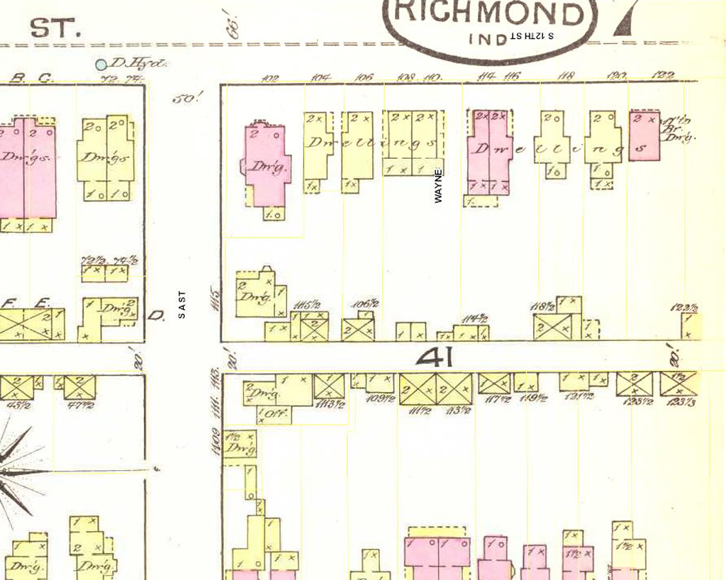 Detail of 1886 Sanborn map showing location of 114 South 12 Street, Richmond, Indiana.