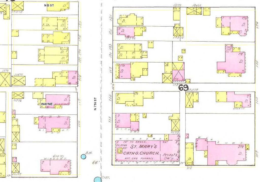 124 North 7th Street. From Richmond Indiana January 1891 (New York: Sanborn Map & Publishing Company, 1890).