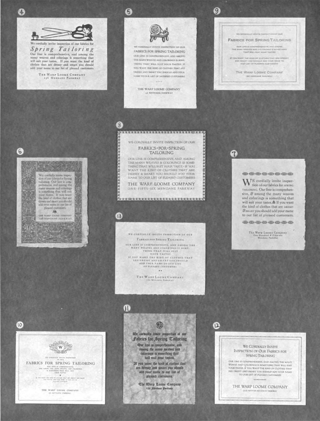 Winners 4 to 13 of the Tailor's Announcement Contest. The American Printer vol. 62, no. 11 (June 5, 1916), following p. 40.