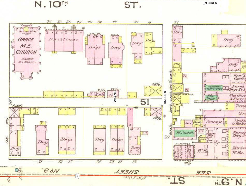 25 North 9th Street and 31 North 9th Street. From Richmond Indiana January 1886 (New York: Sanborn Map and Publishing Company, 1885).