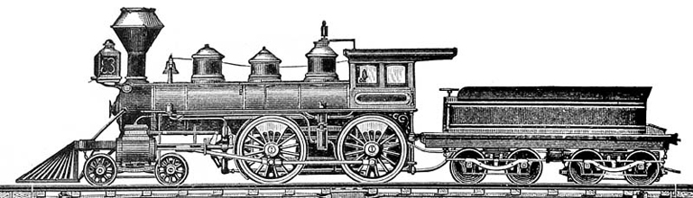 1880s woodcut illustration of  a 4-4-0 locomotive from Wikipedia.