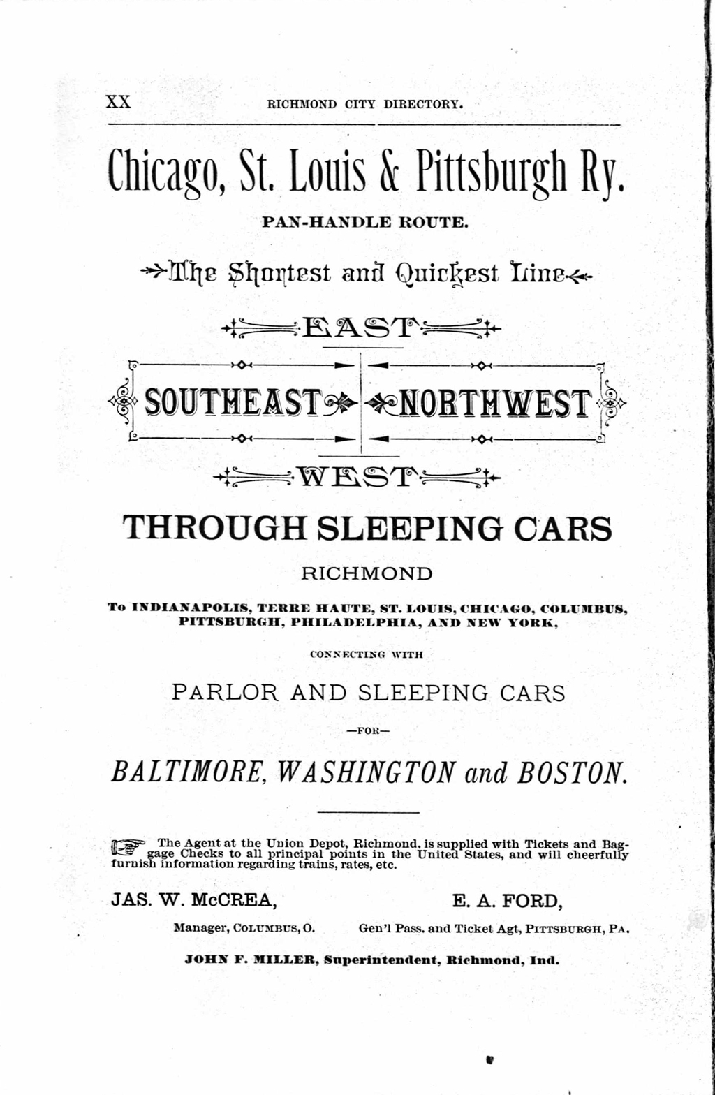 Advertisement for the Chicago, St. Louis & Pittsburgh Railway (the Panhandle Route) (1883). From City Directory of Richmond, Wayne Co., Ind. 1883–84 (Richmond, Indiana: M. Cullaton & Co., 1883).