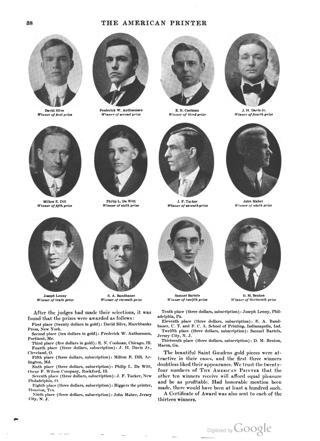 Contest winners (1916). Samuel Bartels is on the bottom line, second from right.