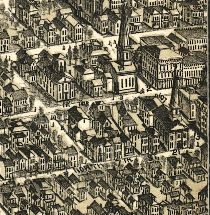 Detail from map of The City of Richmond, Indiana 1884 showing 124 North 7th Street.