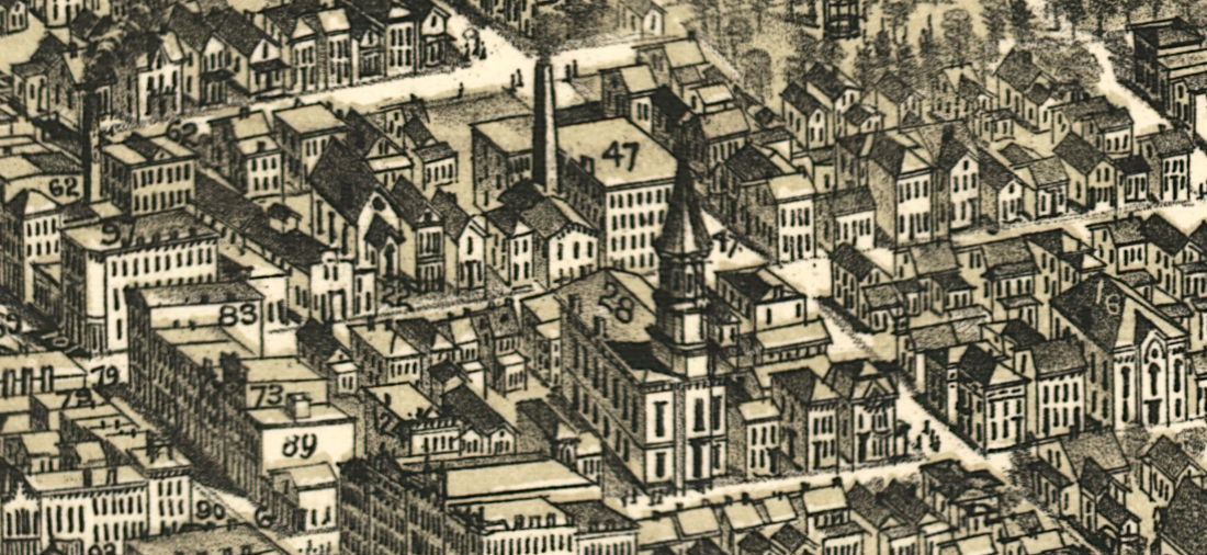 Detail from map of The City of Richmond, Indiana 1884 showing 36 South 9th Street.