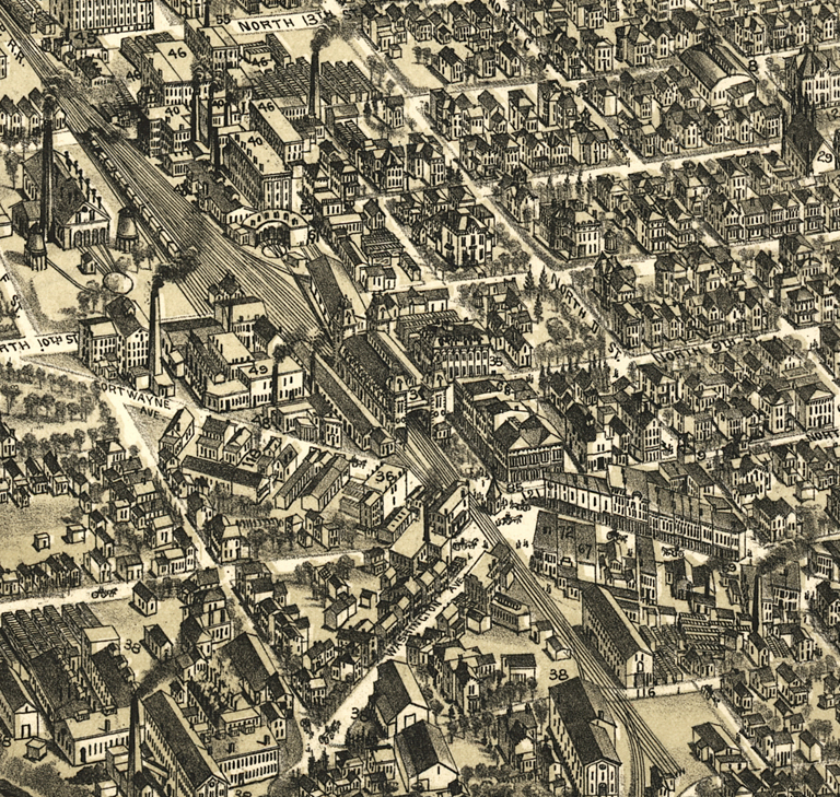 Detail from map of The City of Richmond, Indiana 1884 (Boston: C.F. Bailey & Co., 1884) showing railroad tracks on the north side of town.