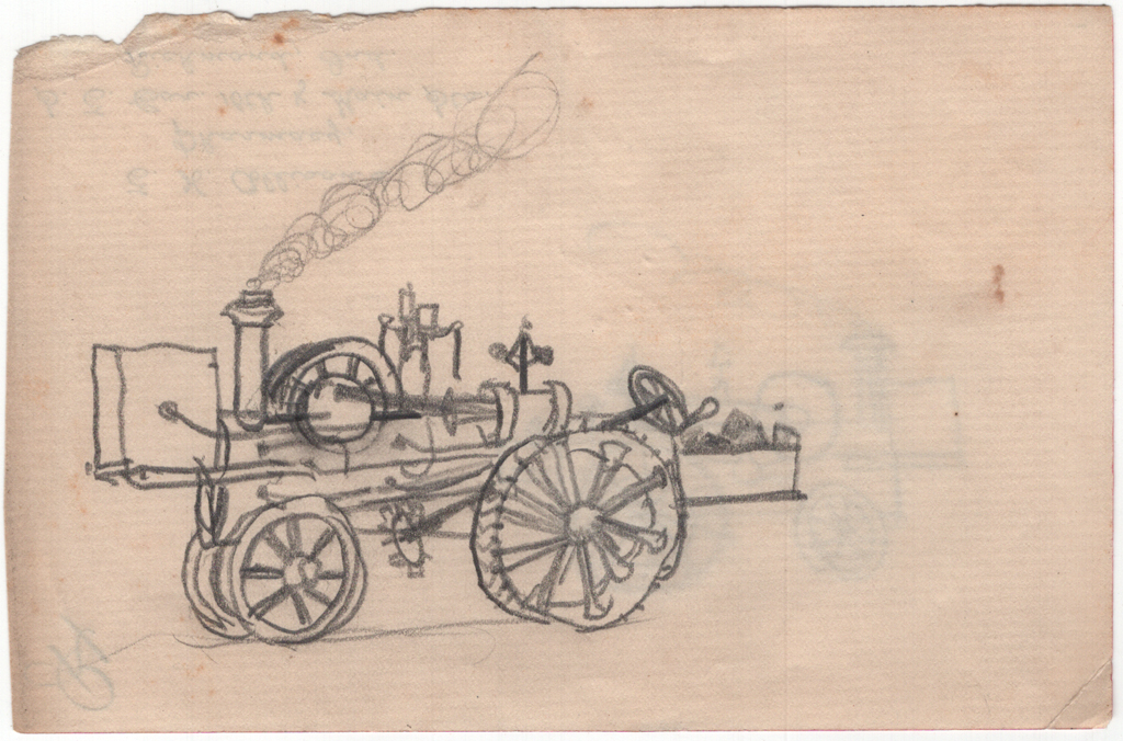 Drawing of fire engine on reverse of E.H. Allison's Pharmacy prescription paper (c.1883–1885) by W.A. Dwiggins. Courtesy Special Collections, Boston Public Library.
