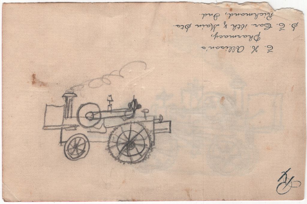 Drawing of fire engine (c.1883–1885) by W.A. Dwiggins. Courtesy Special Collections, Boston Public Library.