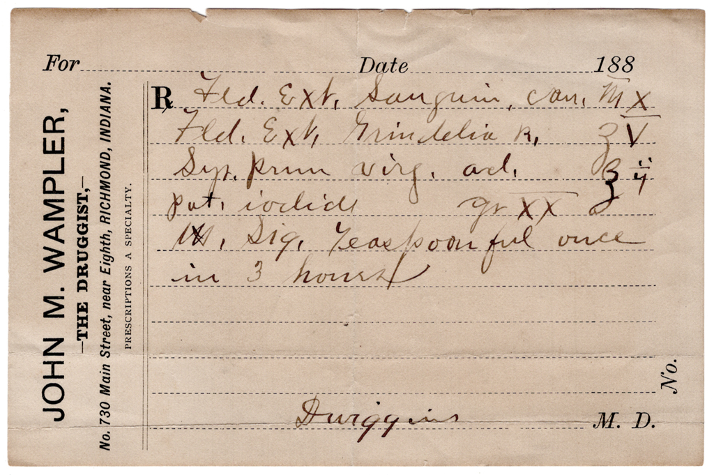Undated prescription by Dr. Moses F. Dwiggins. Courtesy Special Collections, Boston Public Library.