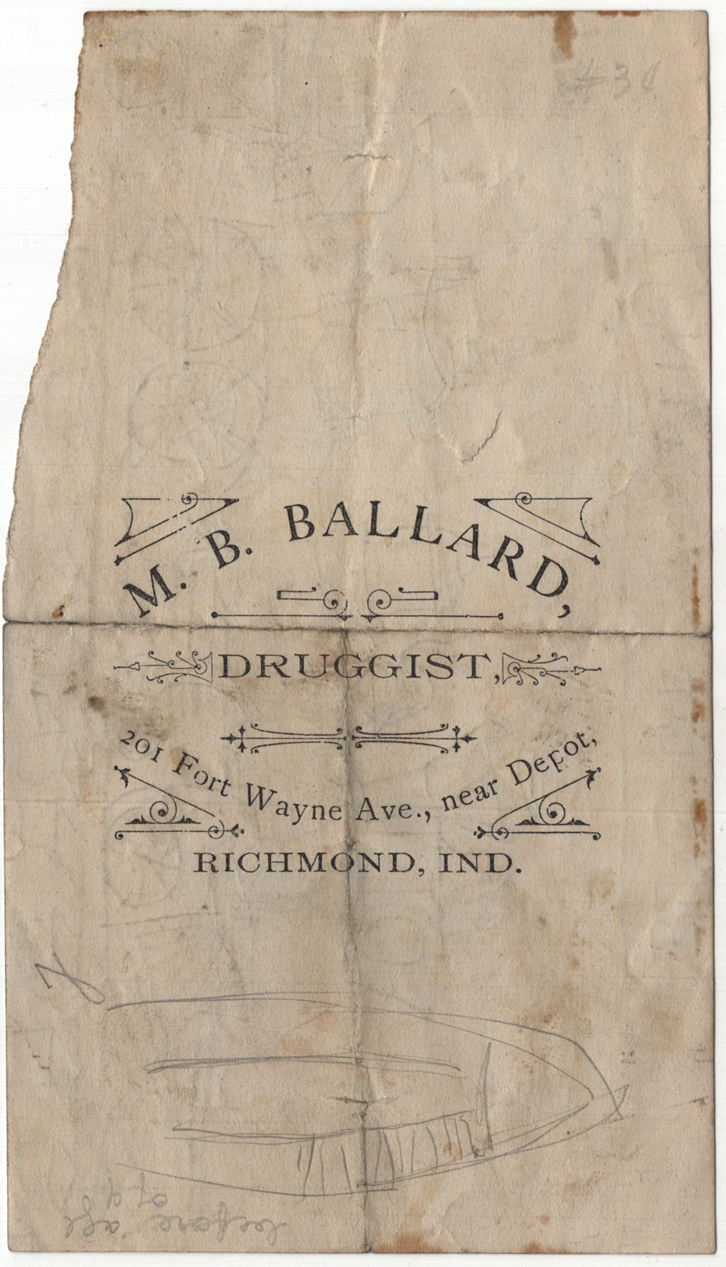 M.B. Ballard, Druggist (Richmond, Indiana) notepaper. Courtesy Special Collections, Boston Public Library.