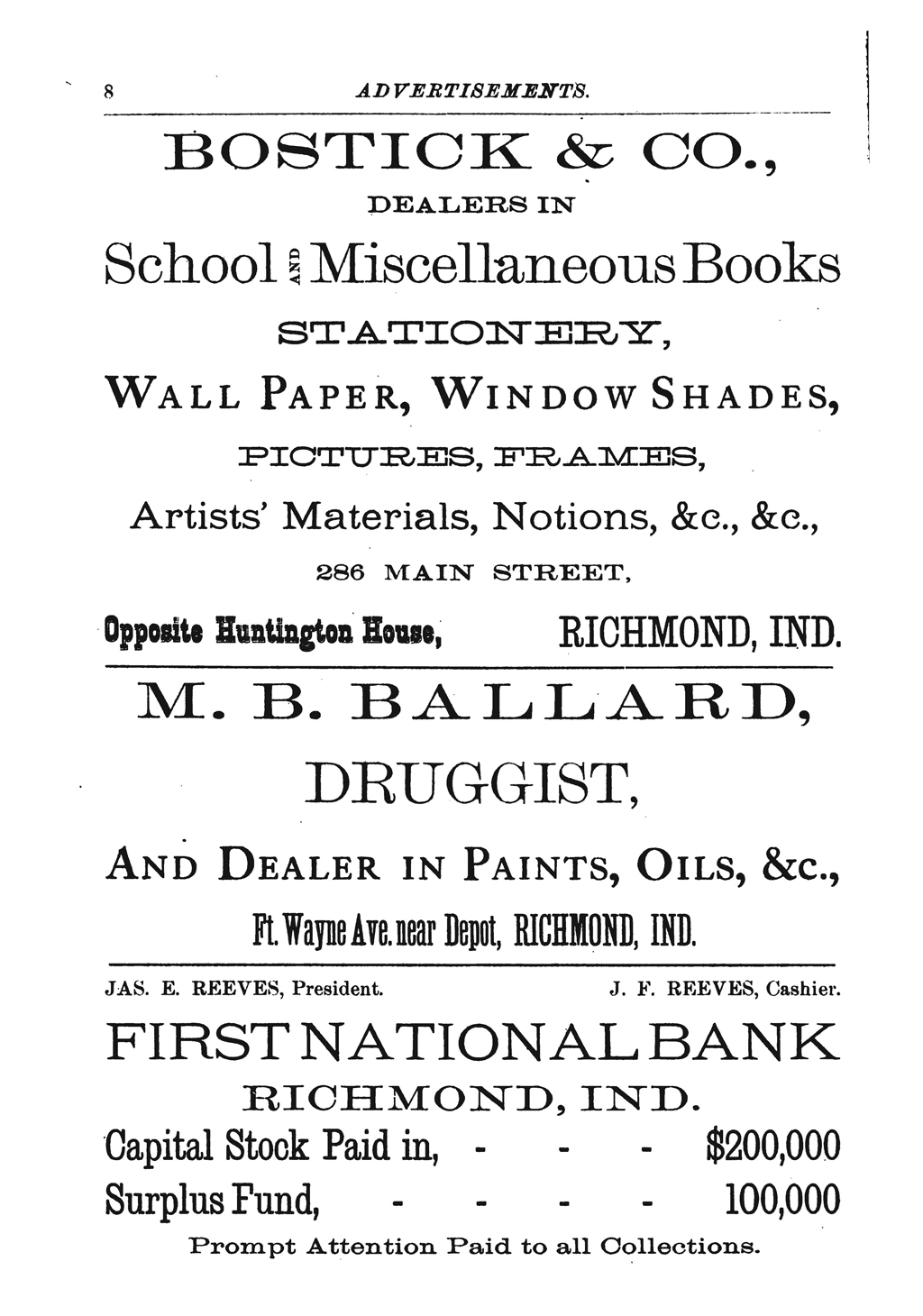 Advertisement for M.B. Ballard, Druggist from Richmond City Directory for 1890–1891… (Richmond, Indiana: M. Cullaton & Co., 1890).