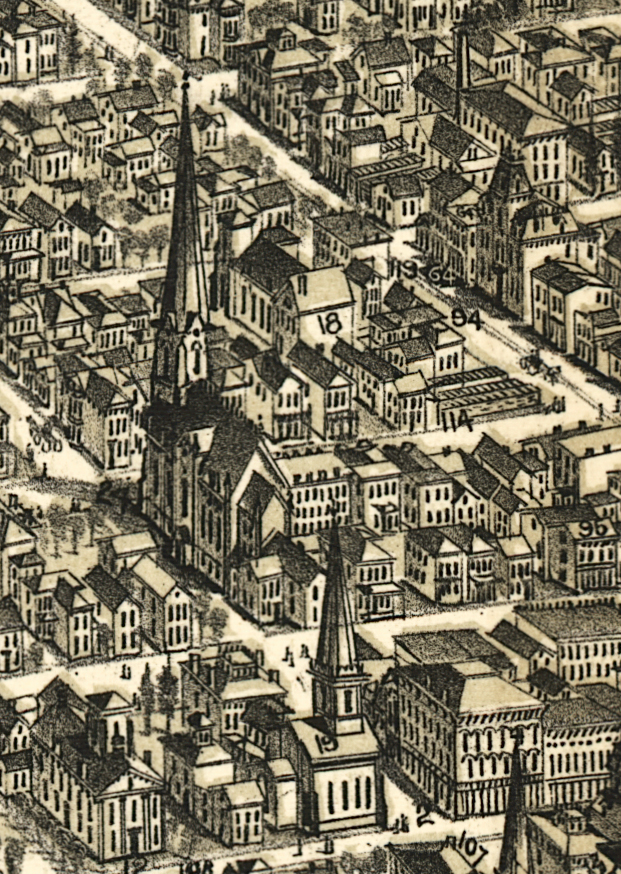 Detail of map The City of Richmond, Indiana (Boston: C.F. bailey & Co., 1884) showing location of 25 North Street and 31 North Street.