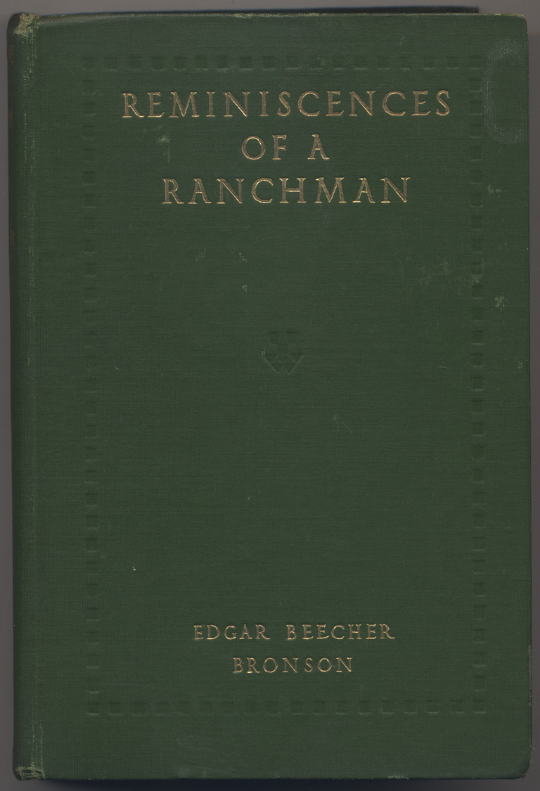 Binding for Reminiscences of a Ranchman by Edgar Beecher Bronson (New York: S.S. McClure Co., 1908). Design by W.A. Dwiggins.