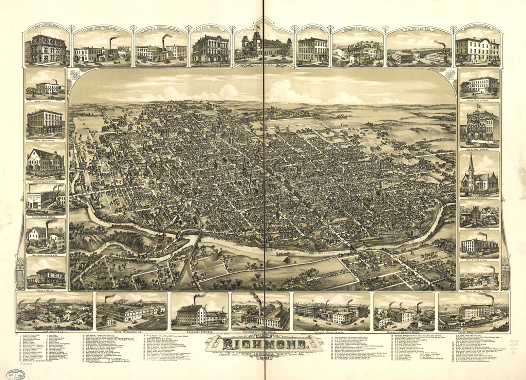 Map of The City of RIchmond, Indiana 1884 (Boston: C.H. Bailey & Co., 1884).
