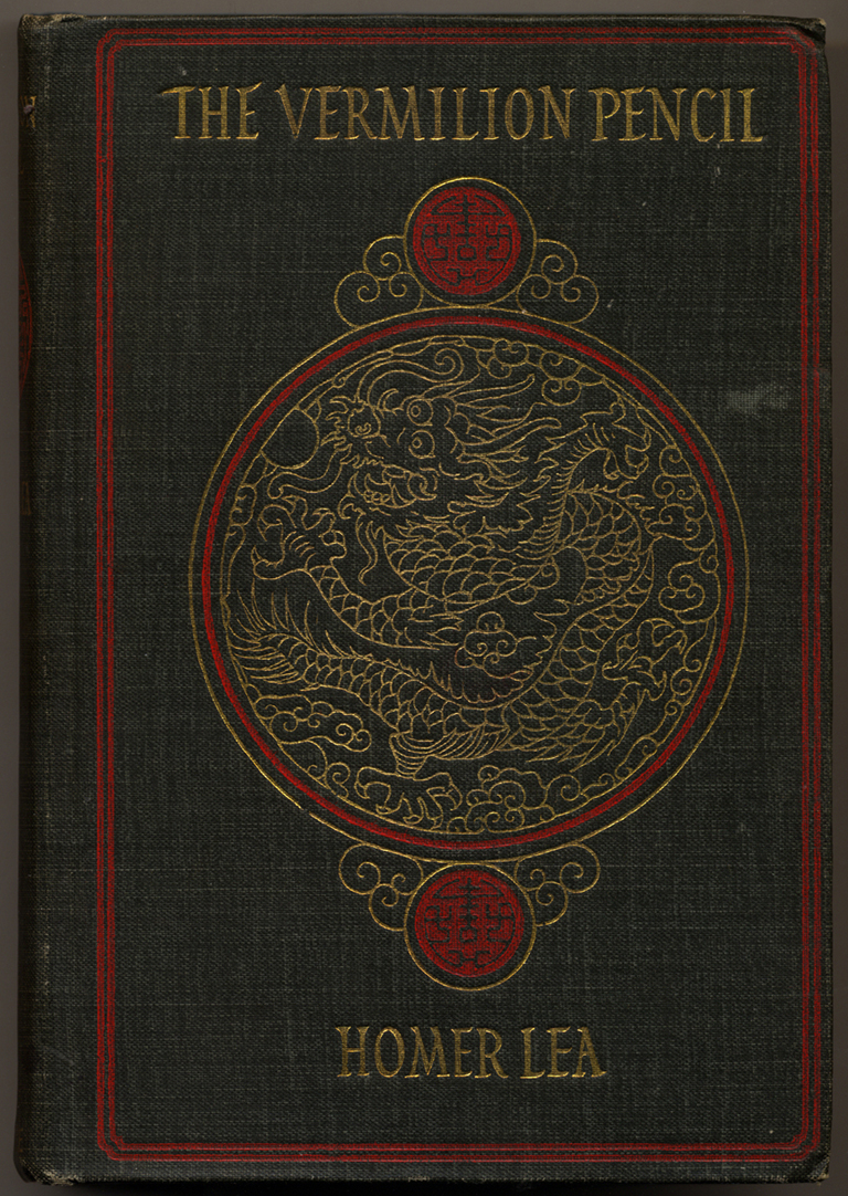 Binding for The Vermilion Pencil by Homer Lea (New York: S.S. McClure Co., 1908). Design by W.A. Dwiggins.