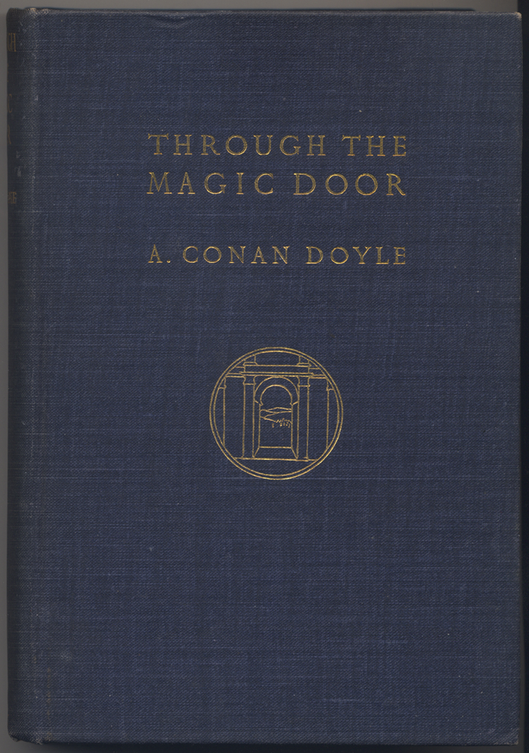 Binding for Through the Magic Door by Arthur Conan Doyle (New York: The McClure Company, 1908). Design by W.A. Dwiggins. From the collection of Paul Shaw.