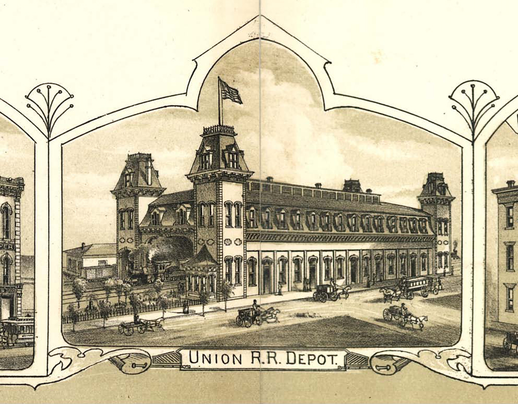 Union R.R. Depot from map The City of Richmond, Indiana 1884 (Boston: C.F. Bailey & Co., 1884).