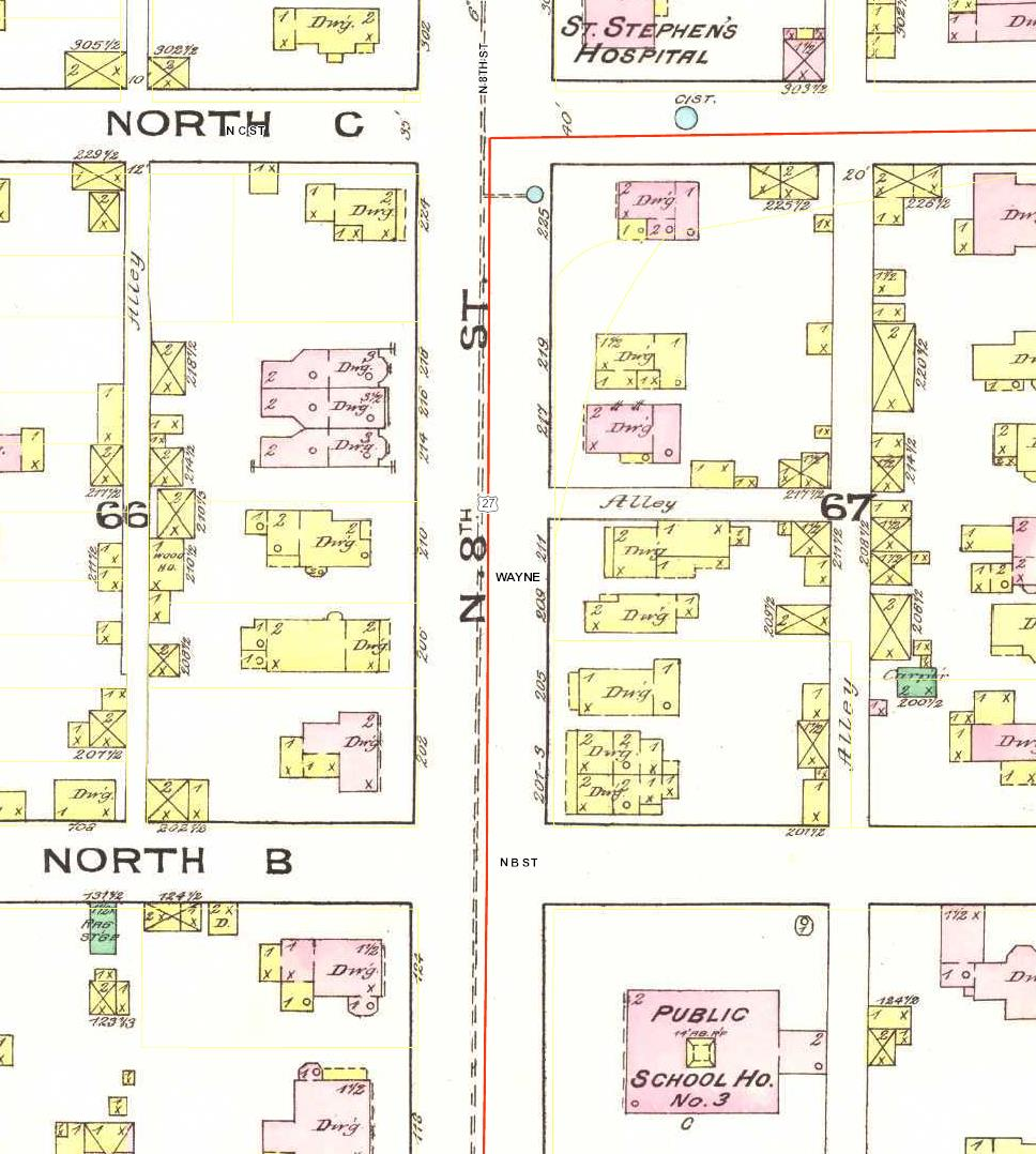 202 North 8th Street. Detail from Richmond Indiana January 1886 (New York: Sanborn Map and Publishing Company, 1885).