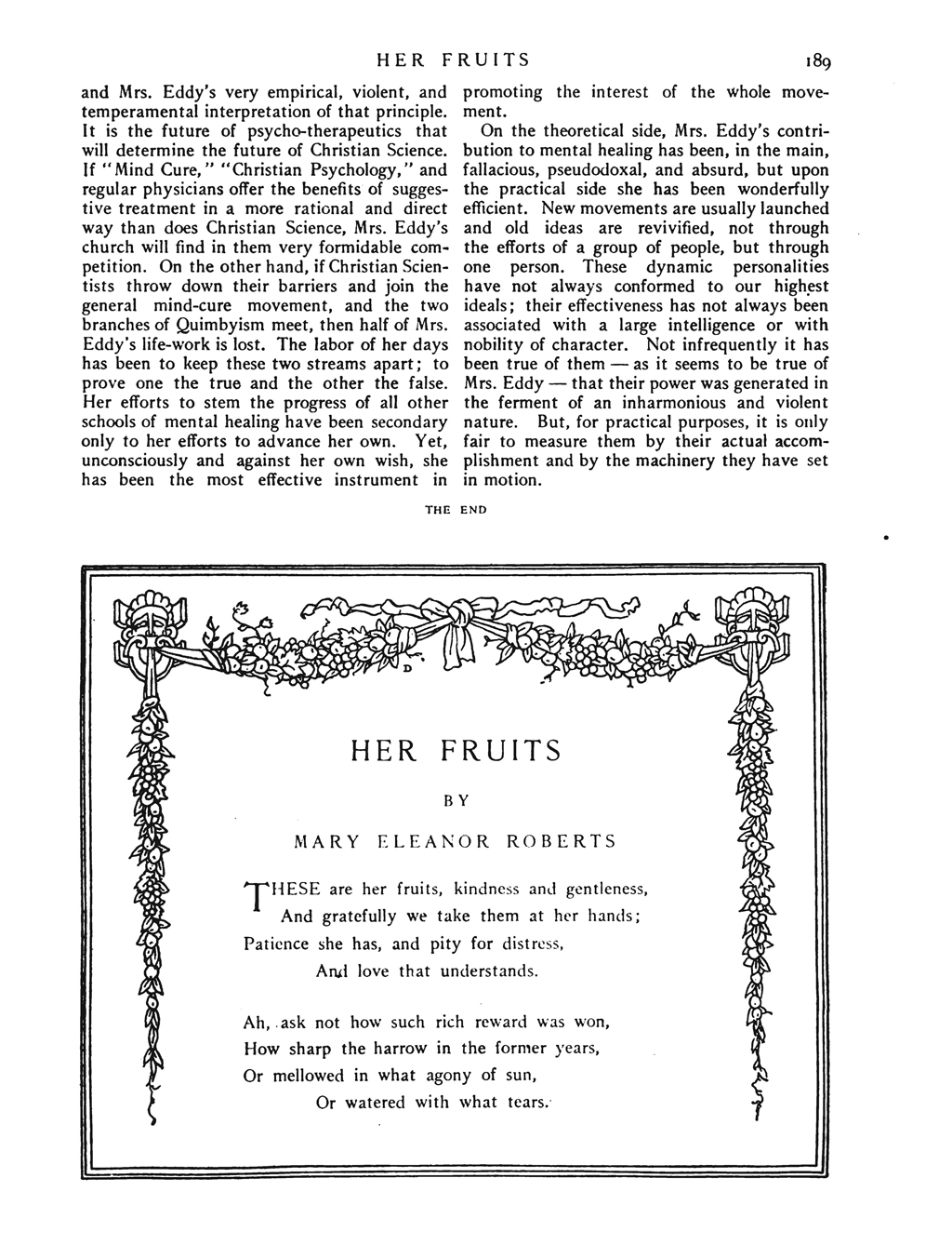 """Her Fruits"" by Mary Eleanor Roberts (McClure's Magazine May 1908, p. 189). Decorative frame by W.A. Dwiggins."