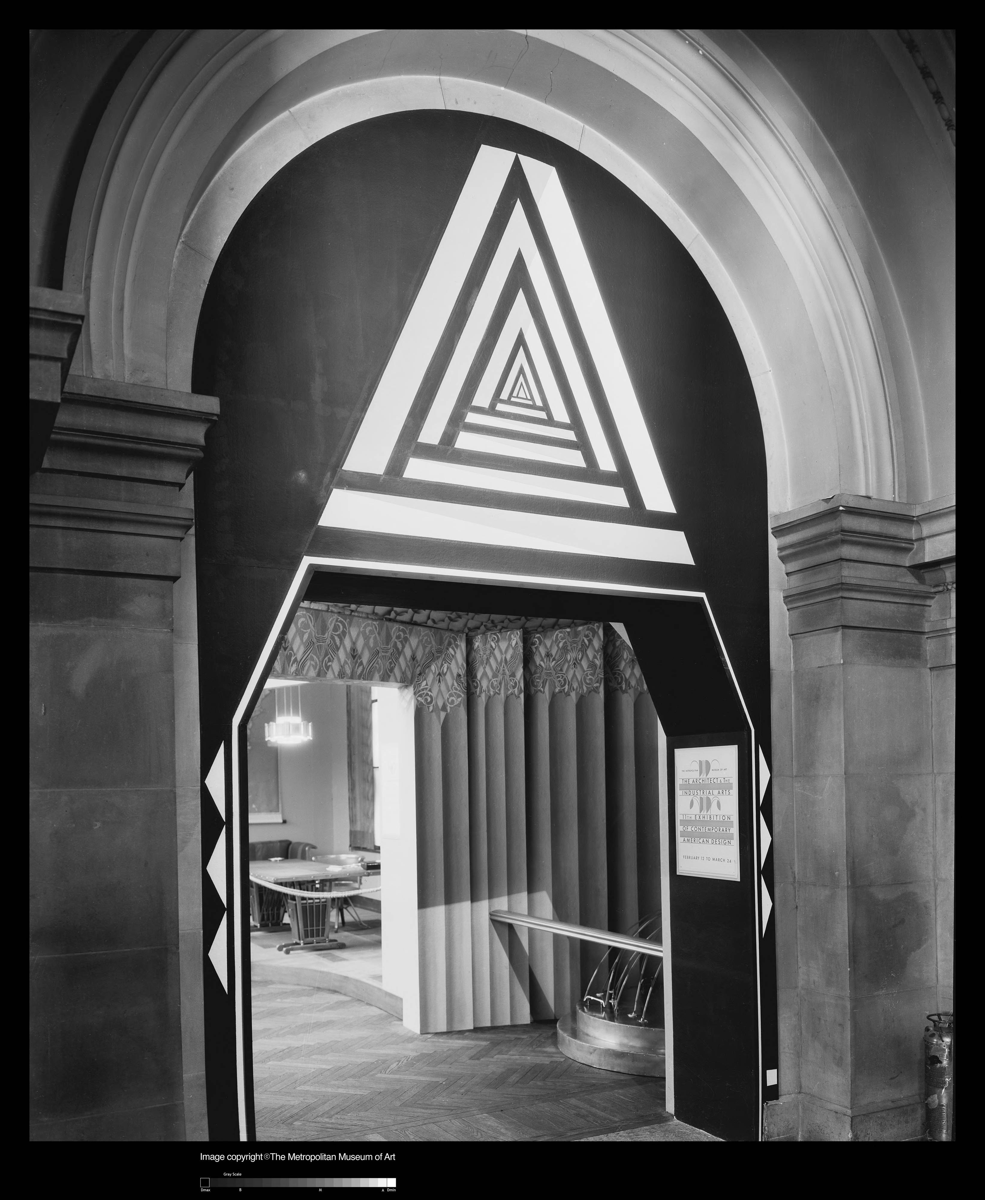 Entrance to The Architect and the Industrial Arts exhibition at The Metropolitan Museum of Art (1929). Designer uncredited. Note the poster by W.A. Dwiggins at right. Image Metropolitan Museum of Art.
