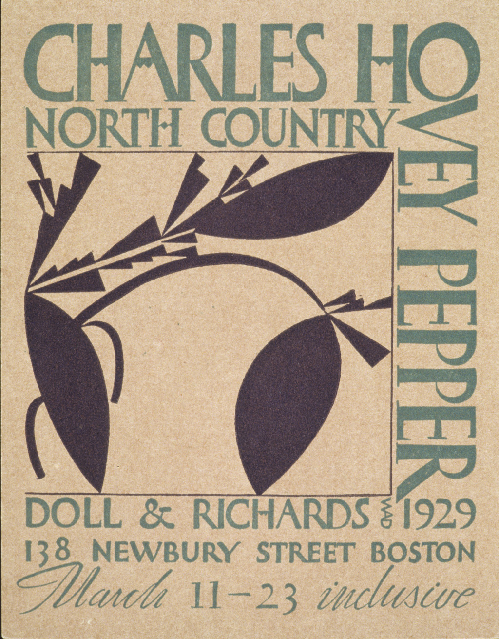 """Charles Hovey Pepper North Country"" exhibition announcement (1929). Design, lettering and ornament by W.A. Dwiggins."