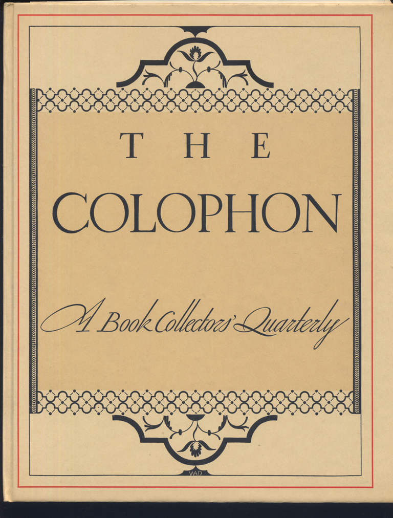 The Colophon, Part V (1931). Cover design by W.A. Dwiggins.