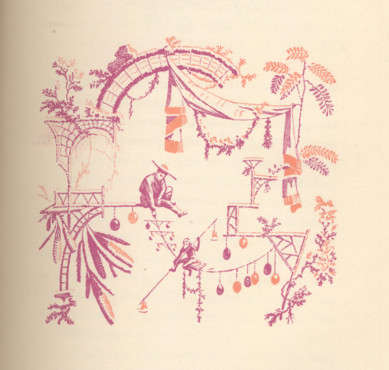 Vignette for Section II of Java Head by Joseph Hergesheimer (New York: Alfred A. Knopf, 1946). Design by W.A. Dwiggins, inspired by the work of Jean Pillement.