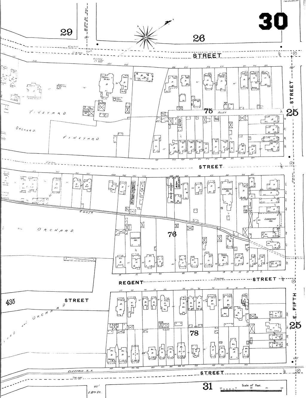 Location of 45 Regent Street. Detail of Sanborn (1888), Plate 30. Courtesy of the Los Angeles Public Library.