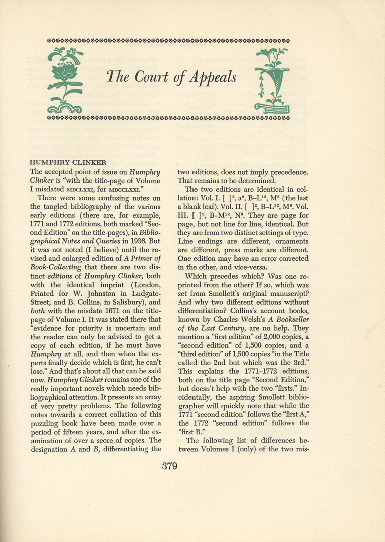"""The Court of Appeals"" column in The New Colophon vol. II, part 8 (February 1950). Ornaments and typography by W.A. Dwiggins."