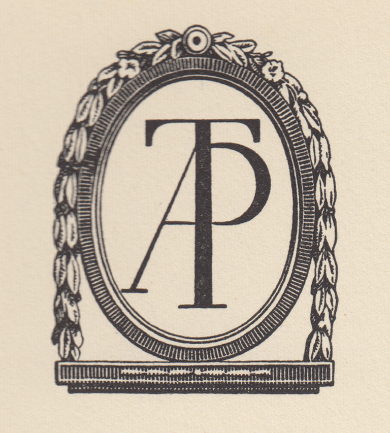 Colophon device for The Anthoensen Press (1947). Design by W.A. Dwiggins. First used in The New Colophon vol. I, no. 1 (January 1948).