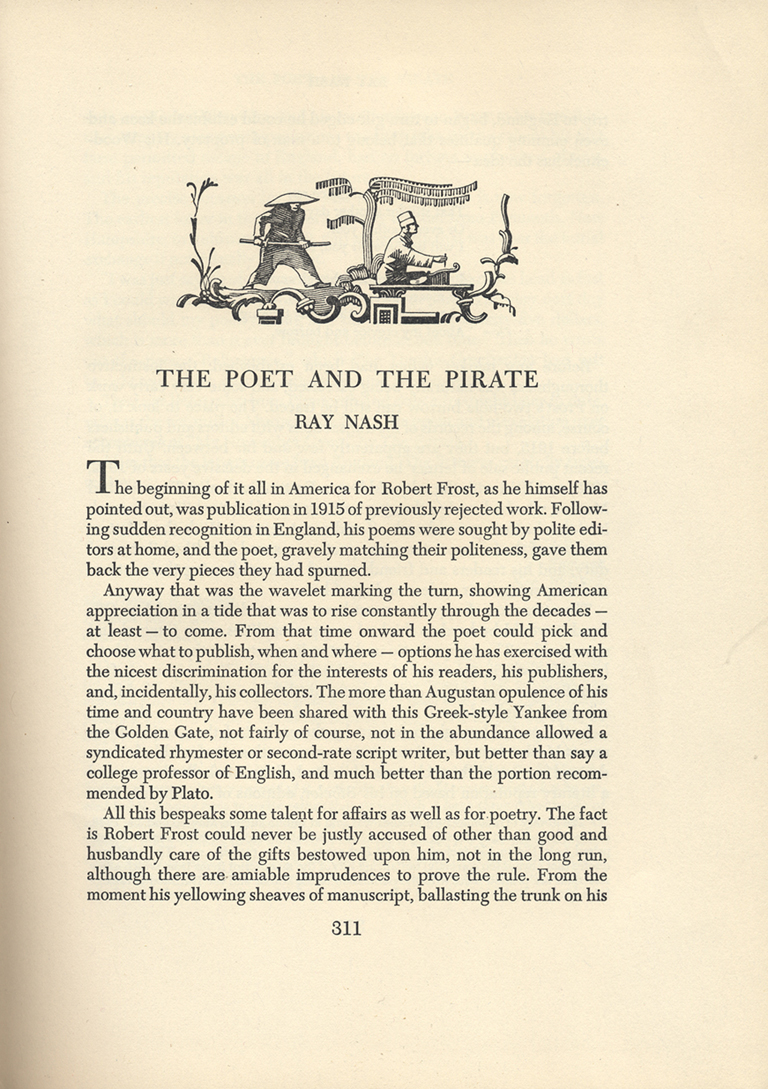 """The Poet and the Pirate"" by Ray Nash in The New Colophon vol. II, part 8 (February 1950). Headpiece and typography by W.A. Dwiggins."