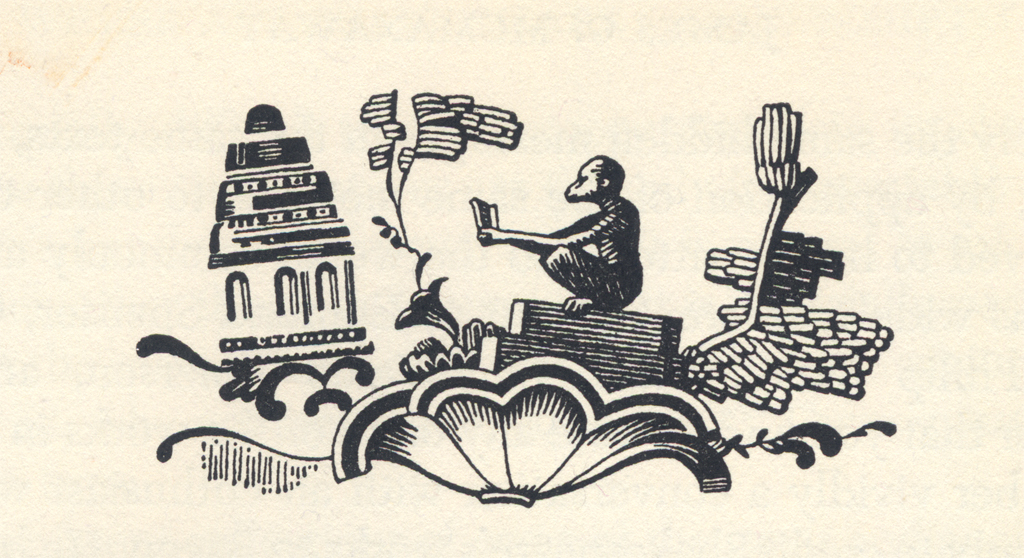 "Headpiece for ""Where Are Shakespeare's Manuscripts?"" in The New Colophon vol. II, part 8 (February 1950). Illustration by W.A. Dwiggins."